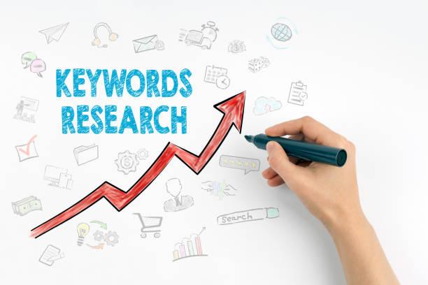 hand mit markerschreiben - stichworte research business concept - online lexikon stock-fotos und bilder