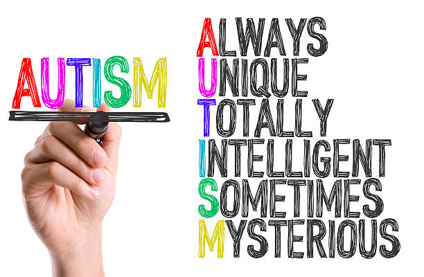hand with marker writing the word autism - autism stock photos and pictures