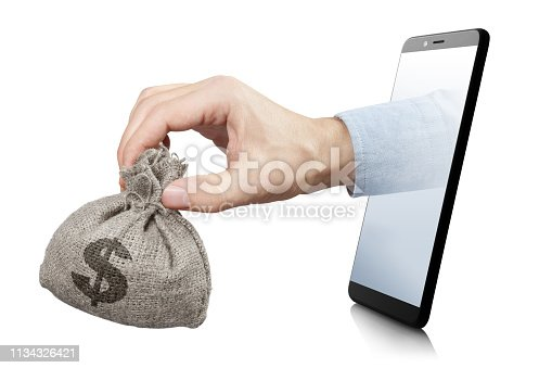 Hand holding a miniature burlap sack full of dollars, sticking out of the smartphone screen, isolated on white background