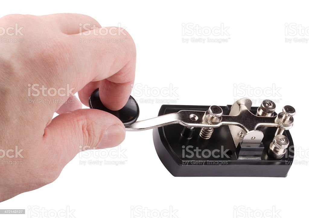 Hand with Morse Key Isolated stock photo