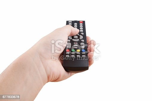 istock hand with multimedia tv remote control 677833678