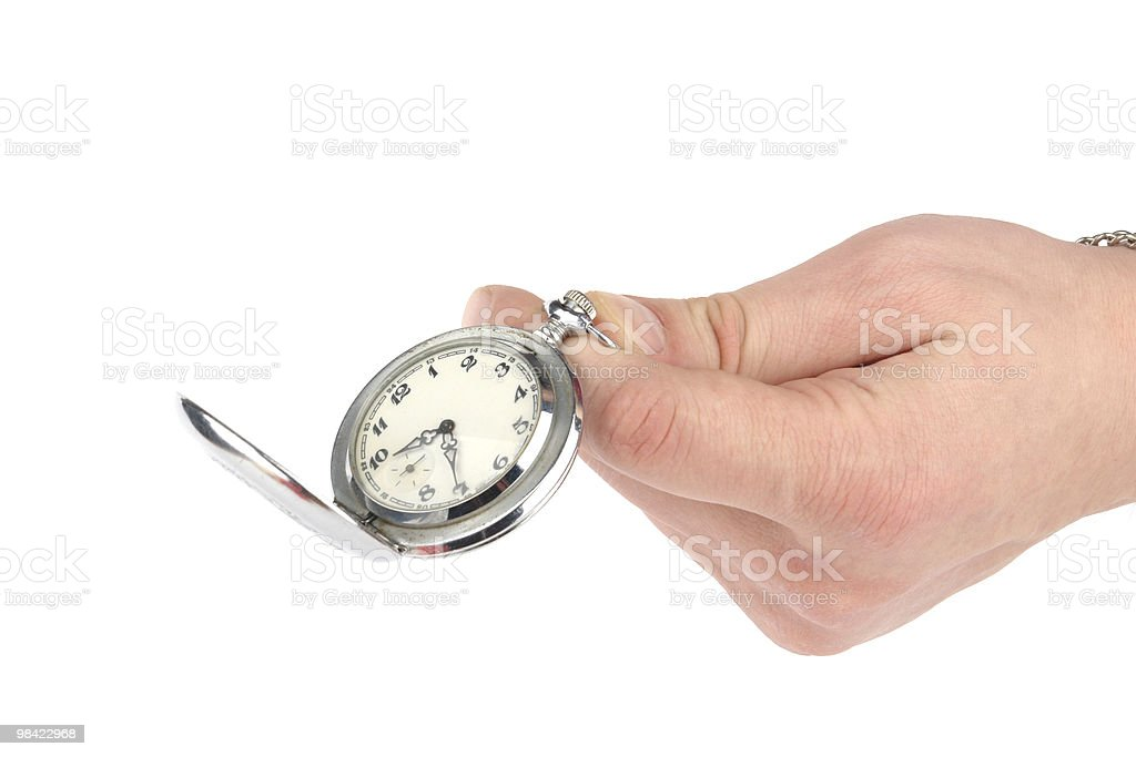 hand with opened old clock royalty-free stock photo