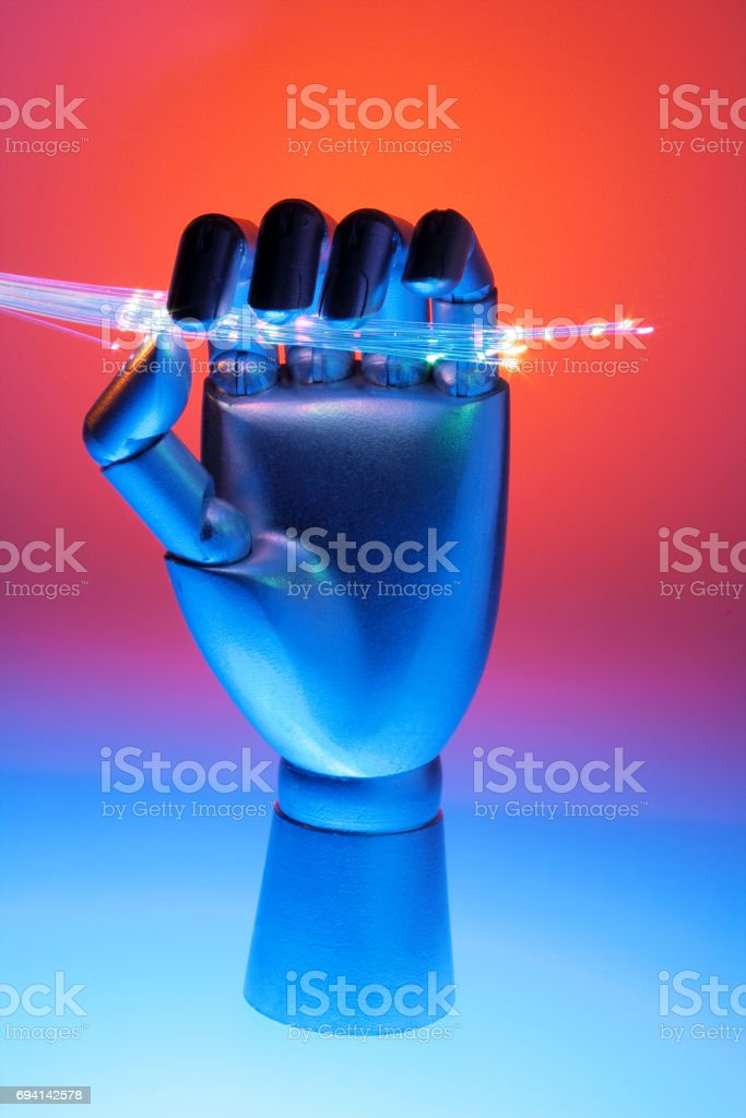 Hand with Optical Fibres stock photo