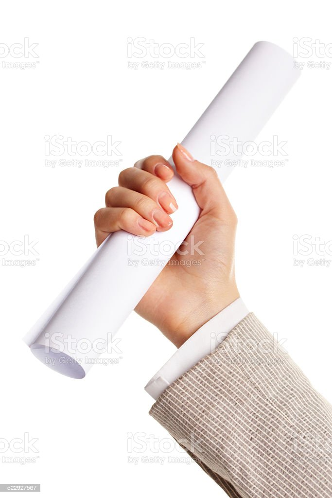 Hand with paper stock photo