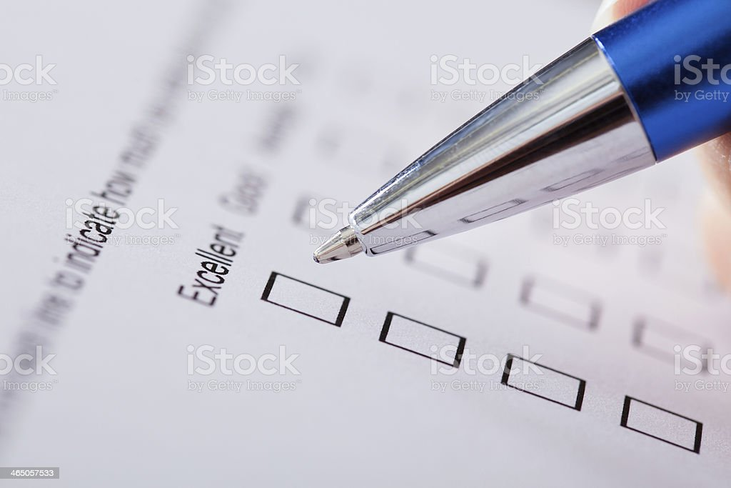 Hand With Pen Over Blank Form stock photo
