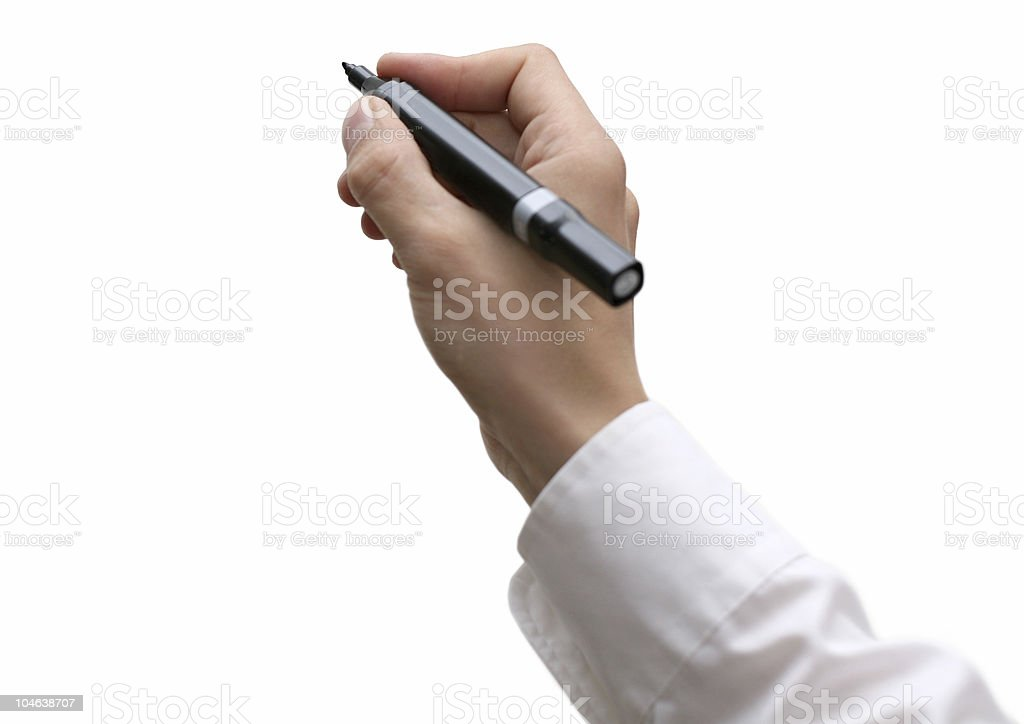 Hand with pen / pencil royalty-free stock photo