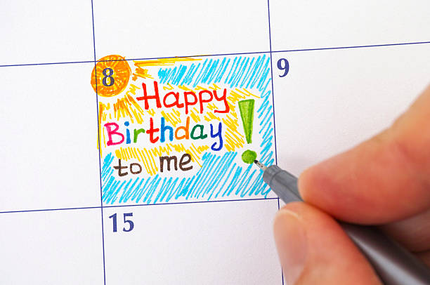 hand with pen writing reminder happy birthday to me - happy birthday schriftzug stock-fotos und bilder