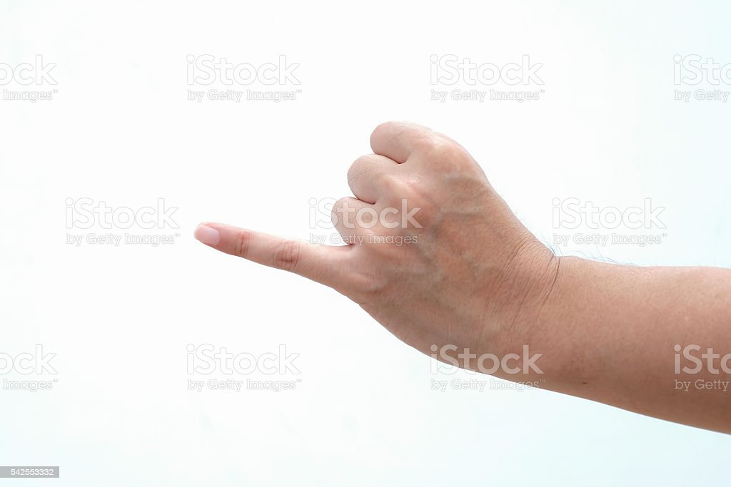 Hand with pinkie finger isolated on white background stock photo
