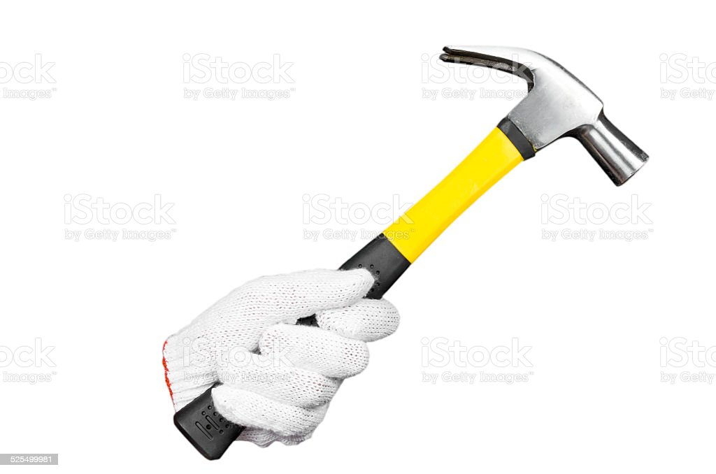 Hand with protection glove holding hammer isolated on white background stock photo