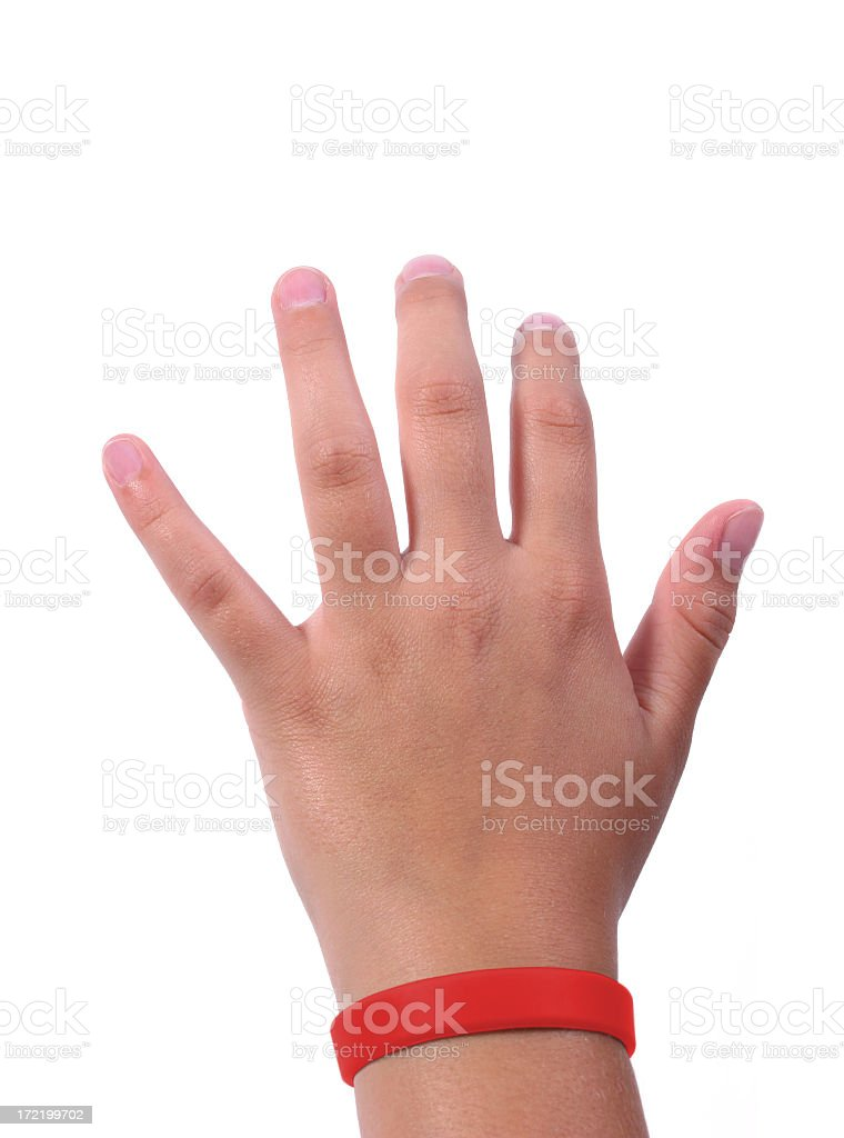 Hand with red Wristband stock photo