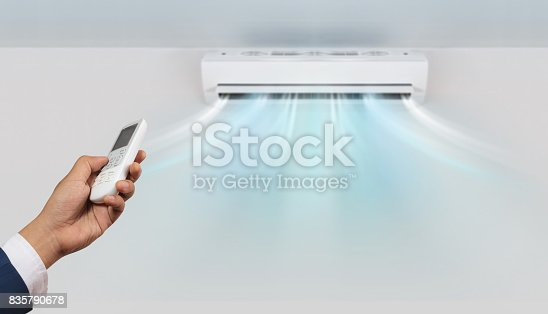 istock Hand with remote control directed and air conditioner 835790678