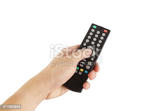 istock hand with remote control on white background 471950943