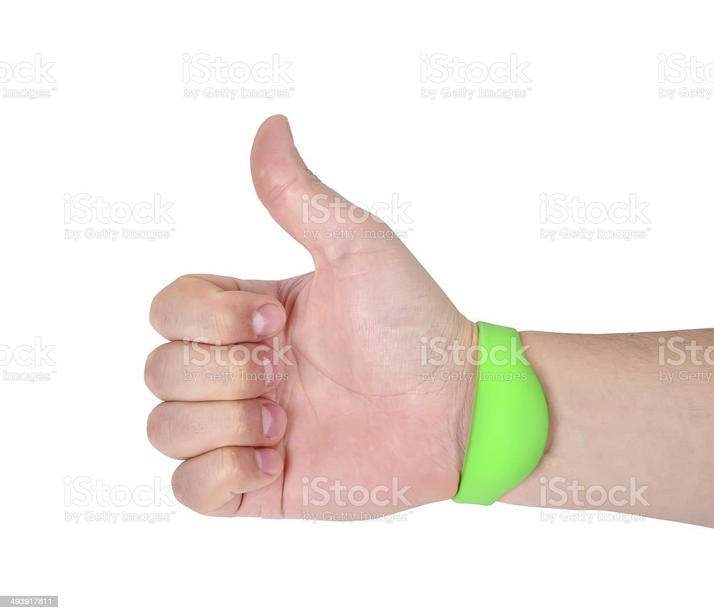 hand  with RFID Bracelet stock photo
