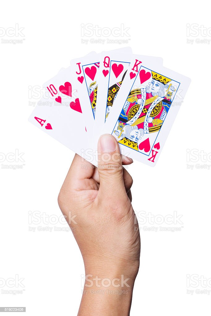 hand with royal flush on white stock photo