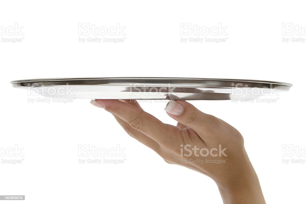Hand With Silver Tray stock photo