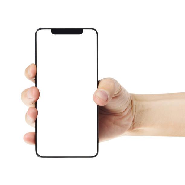 hand with smartphone on white - hand holding phone стоковые фото и изображения