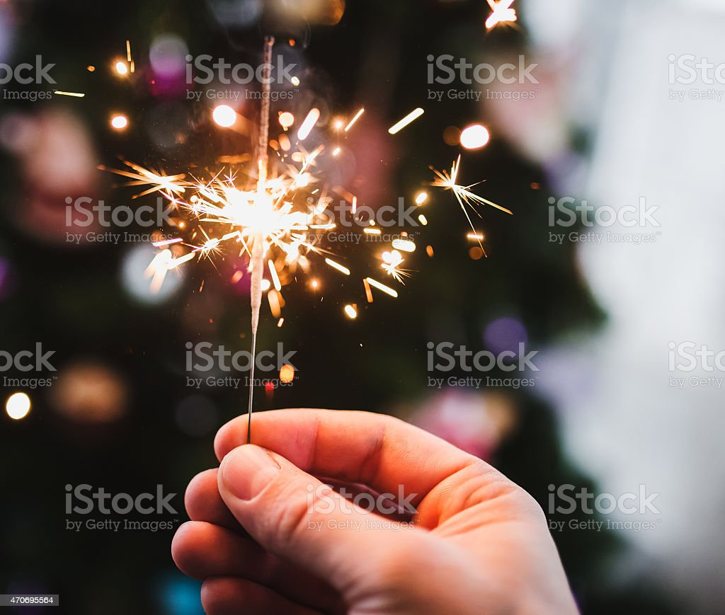 Hand with Sparkler stock photo