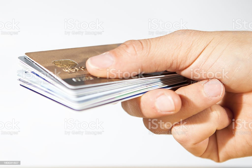 hand with stack of credit cards. royalty-free stock photo