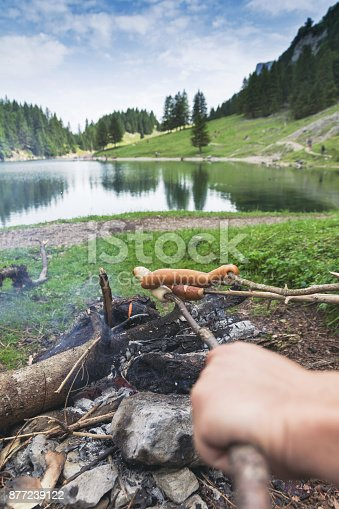 istock hand with stick barbecue sausages in front of Seealpsee lake, Appenzell, Switzerland 877239122