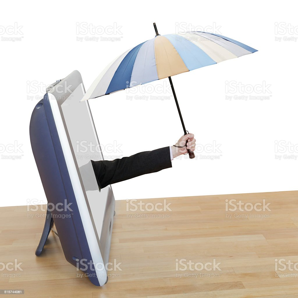 hand with striped umbrella leans out TV screen stock photo