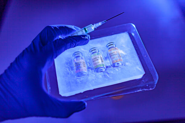 Hand with surgical glove in close-up holding ice cooled package with fake vials of COVID-19 vaccine stored at low temperature. Labeled SARS-CoV-2 against Coronavirus stock photo