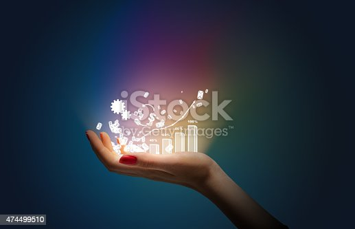 istock Hand with telephone on black background 474499510