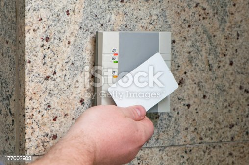 istock hand with the card access 177002903