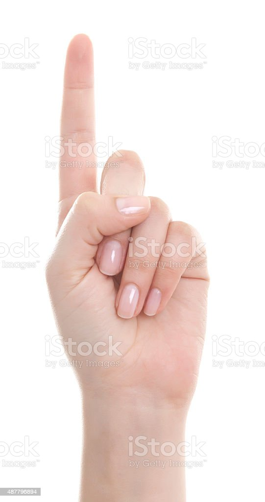 Hand with the index finger stock photo
