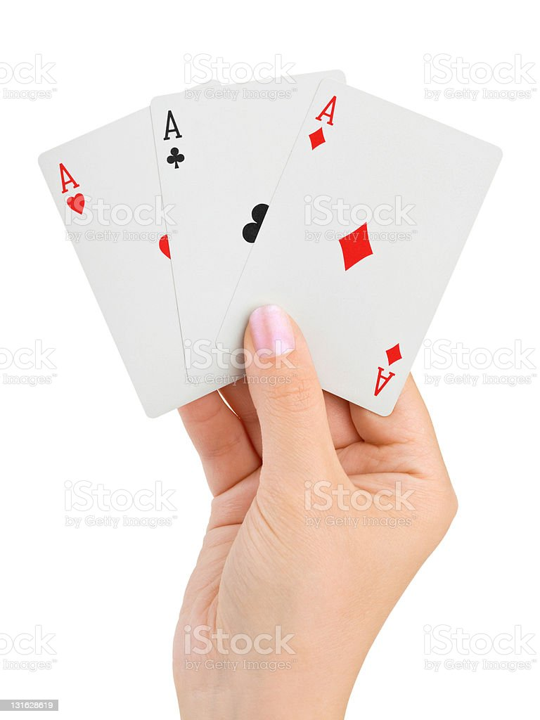 Hand with three aces royalty-free stock photo