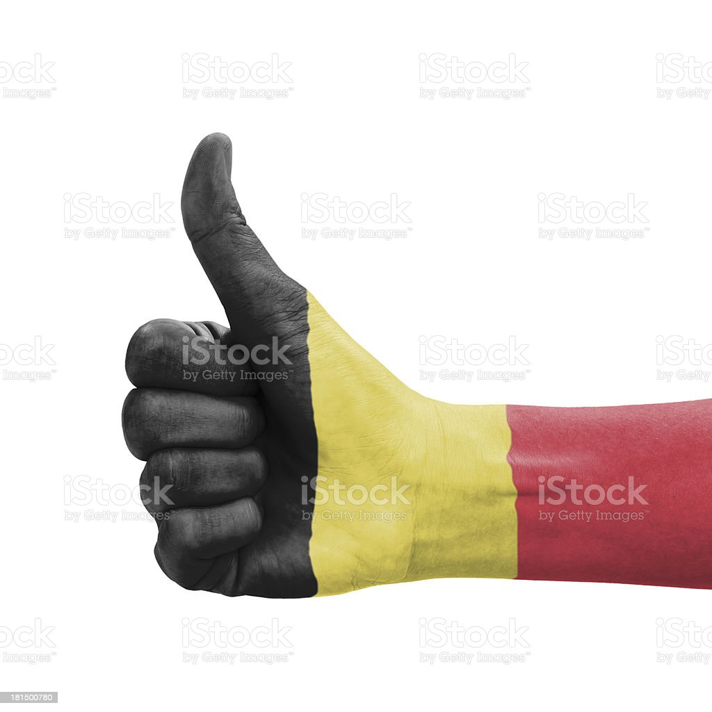 Hand with thumb up, Belgium flag painted stock photo