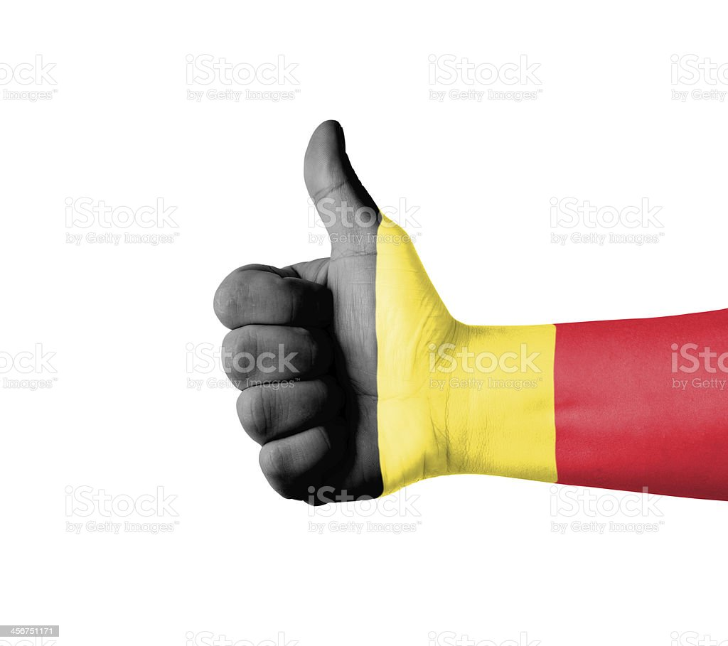 Hand with thumb up, Belgium  flag painted foto