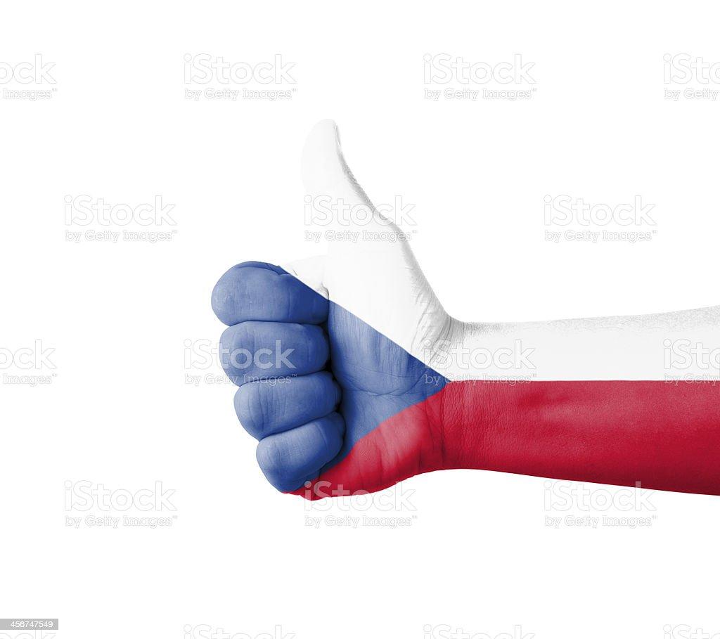 Mano con Botón pulgar levantado, bandera checa pintado - foto de stock