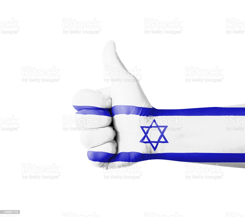 Hand with thumb up, Israel  flag painted stock photo