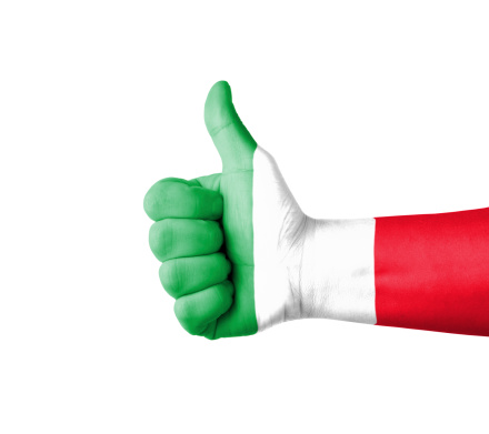 Hand with thumb up, Italy  flag painted