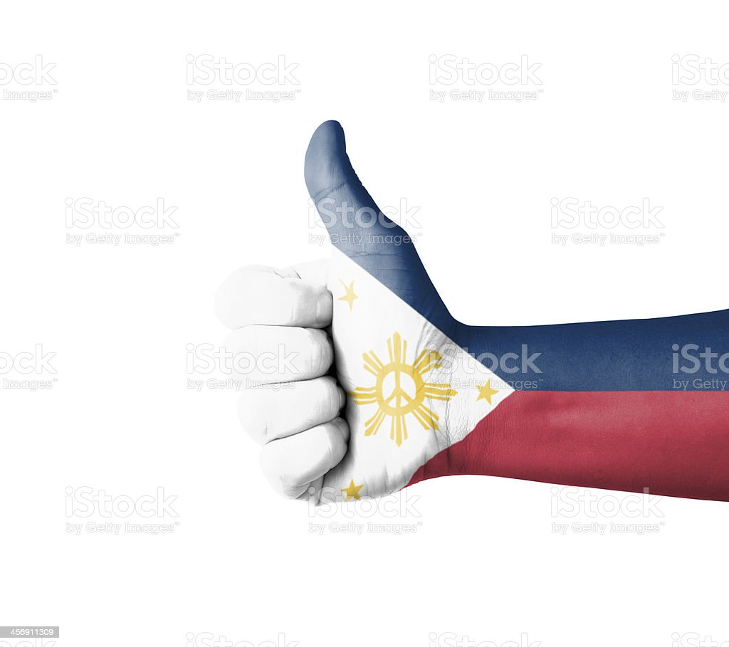 Hand with thumb up, Philippines  flag painted stock photo