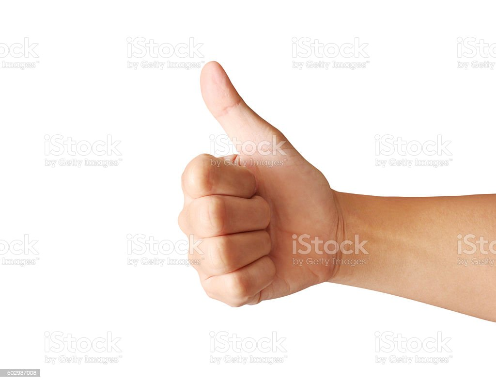 hand with thumb up stock photo