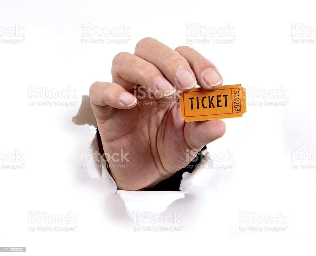 Hand with ticket stock photo