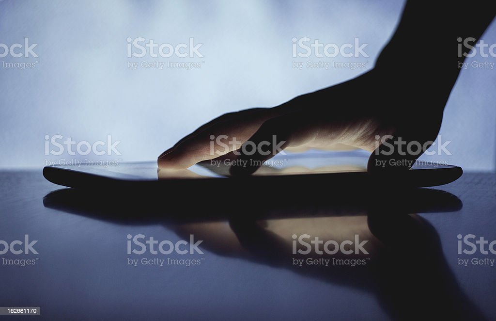 hand with touching screen royalty-free stock photo