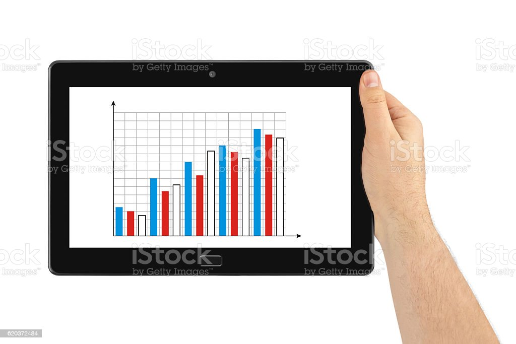 Hand with touchpad pc and business diagram foto de stock royalty-free