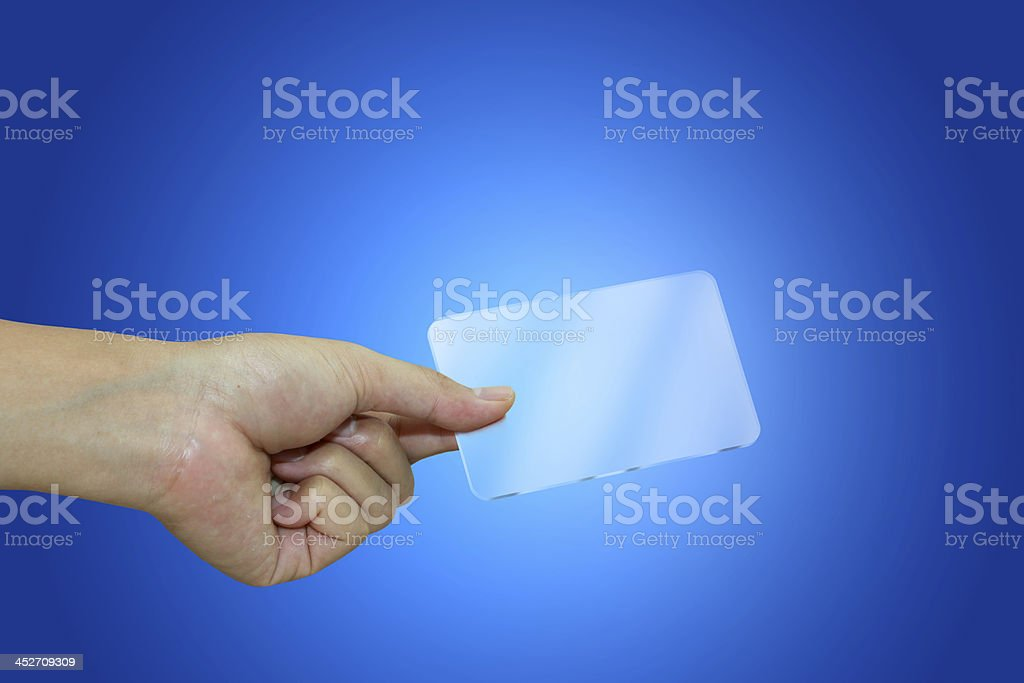 Hand with transparent card. Business concept. stock photo