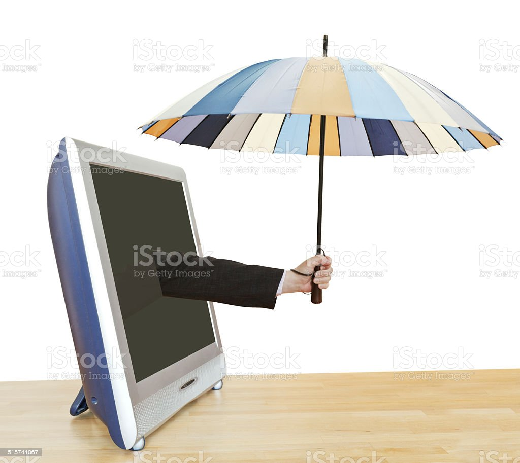 hand with umbrella leans out TV screen stock photo