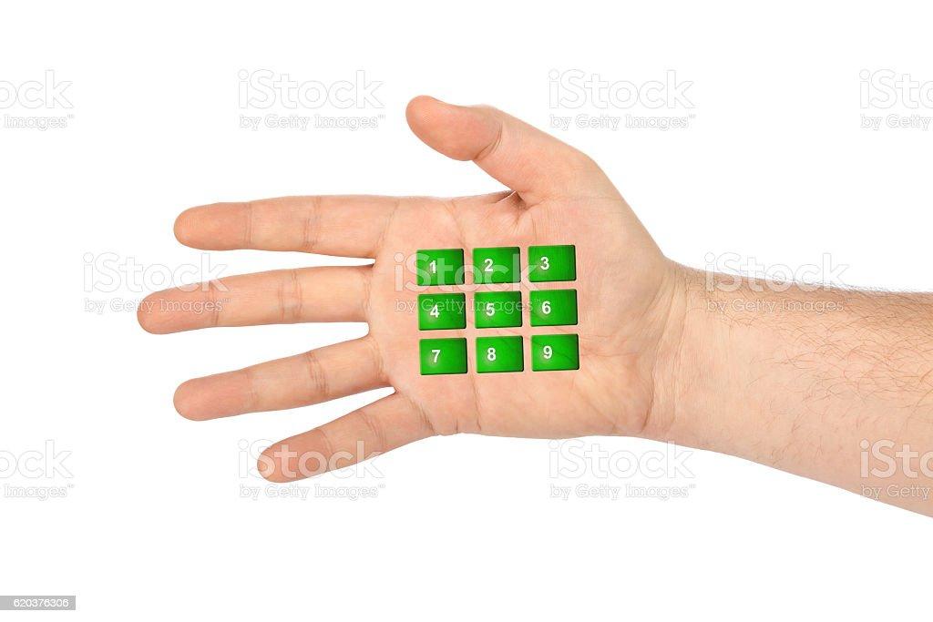 Hand with virtual phone buttons zbiór zdjęć royalty-free