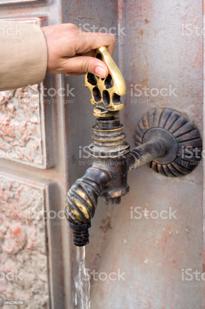 Hand with Water Fountain royalty-free stock photo