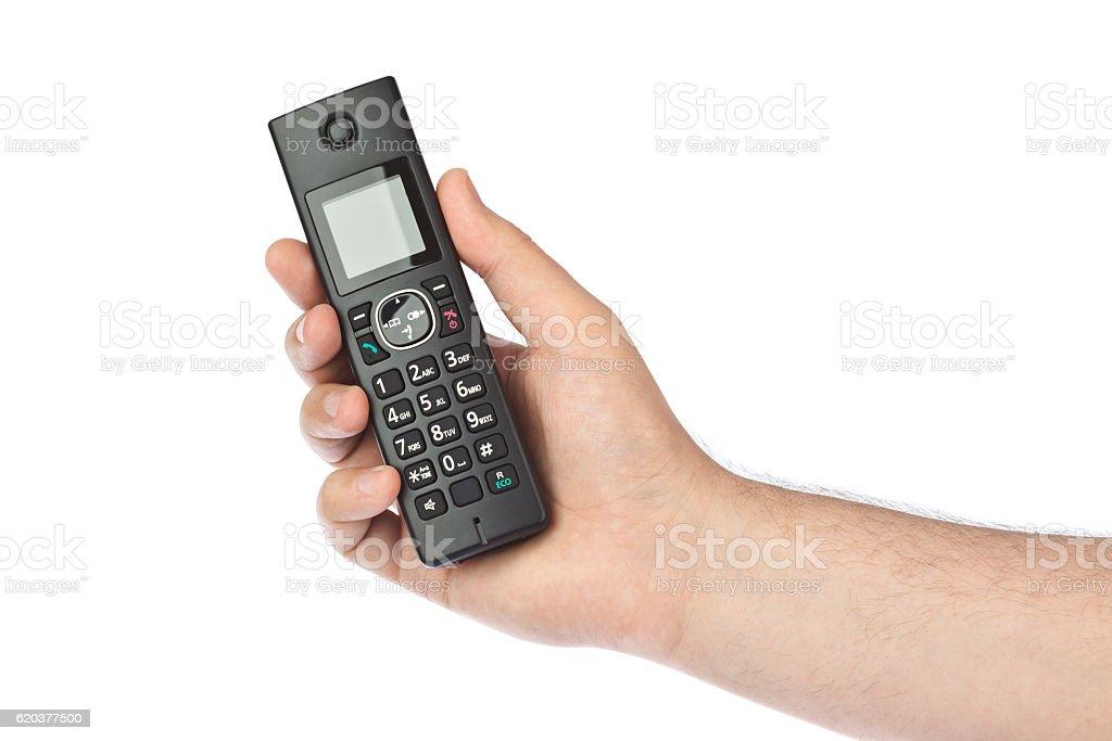 Hand with wireless radio telephone zbiór zdjęć royalty-free