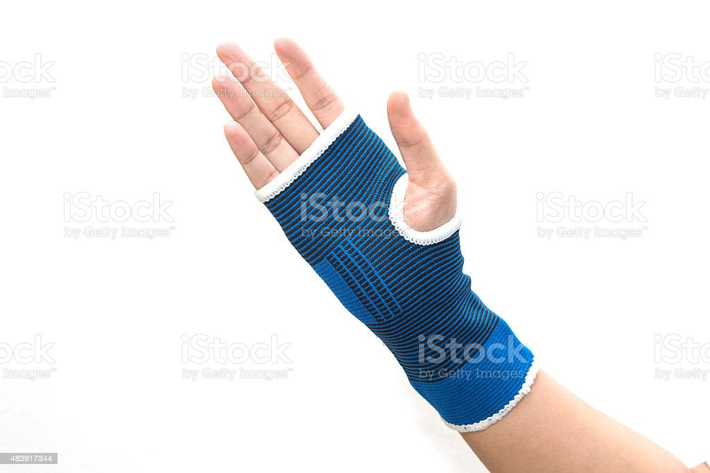 Hand with wrist support isolated on white stock photo