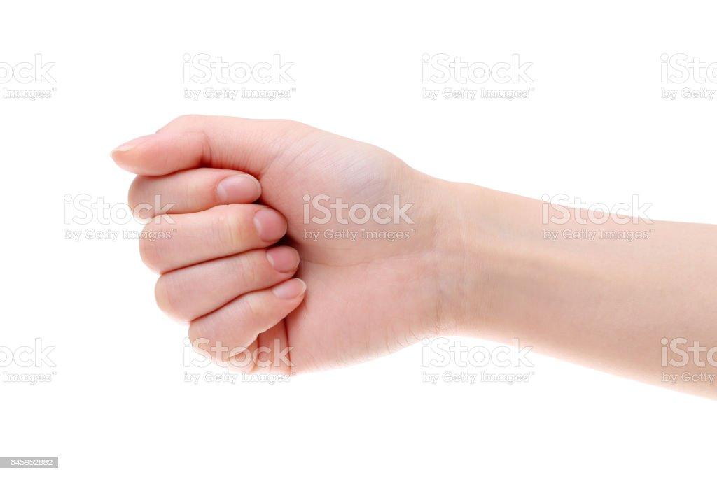 hand woman fist closeup stock photo