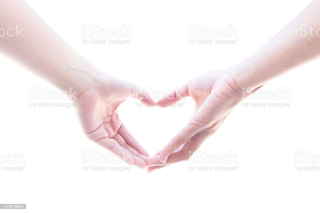 Hand woman heart shape with love stock photo