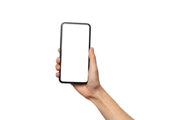 클리핑 경로와 흰색 배경에 고립 된 빈 화면으로 스마트 폰을 들고 손 여자 - hand holding phone 뉴스 사진 이미지