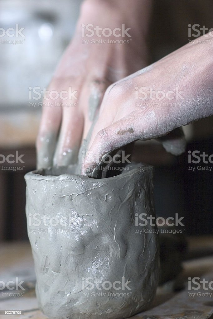 Hand work with clay stock photo