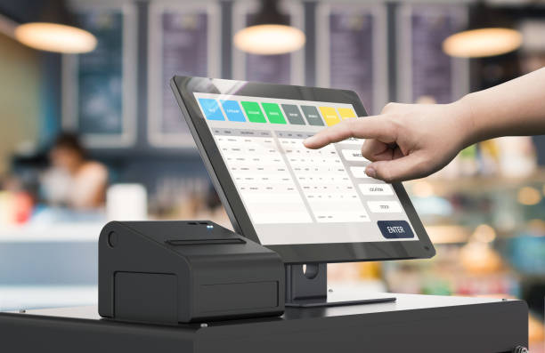 hand working cashier machine human hand working with 3d rendering cashier machine cash register stock pictures, royalty-free photos & images